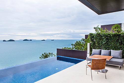 Ocean view pool villa at conrad koh samui for Koh tao cabana koi pool villa