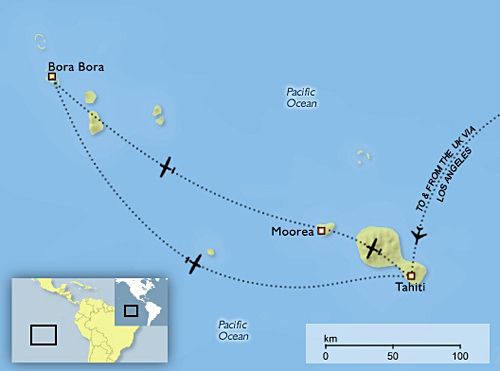 French Polynesia Tahiti And Bora Bora Airfares Bartla - French polynesia map