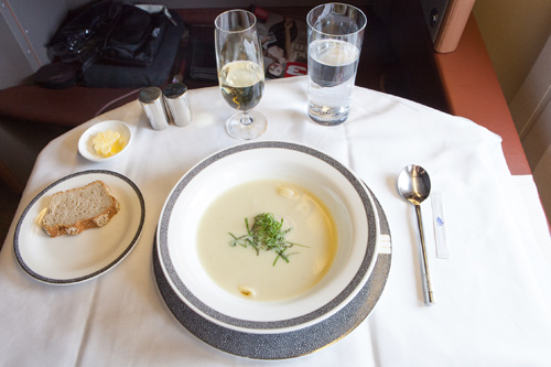 ... First Class Fennel cream soup with mint seared scallop and small pasta