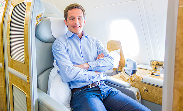 Bart Lapers at Emirates First Class Suite 3A Amsterdam Dubai A380