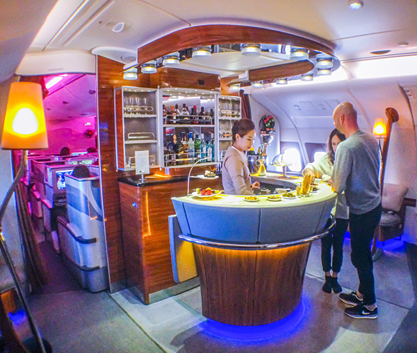 Emirates A380 Business Class Bar and Lounge