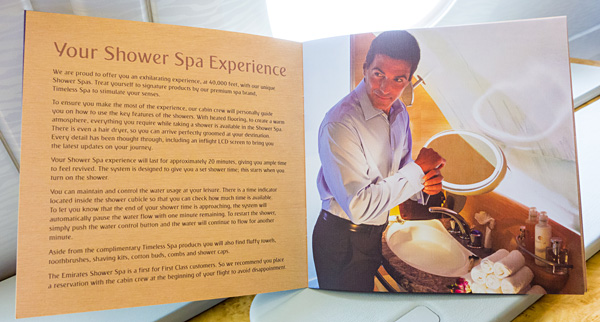 Emirates A380 First Class Shower Spa Personal Guide