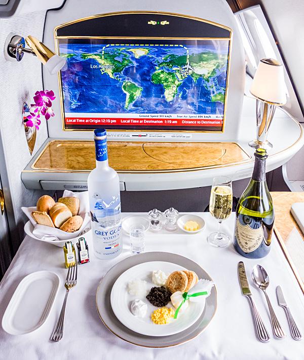Emirates First Class A380 Caviar Grey Goose Dom Perignon 2004 Champagne