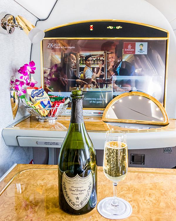 Emirates First Class A380 Dom Perignon 2004 Champagne Predeparture drink