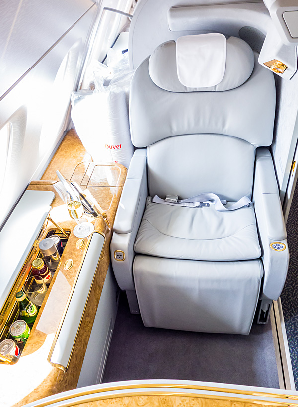 Emirates First Class A380 Suite 2K Seat