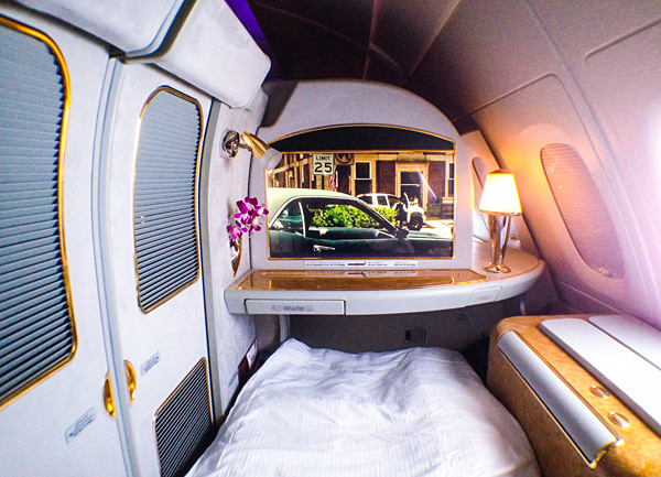 Emirates A380 First Class Suite with closed doors