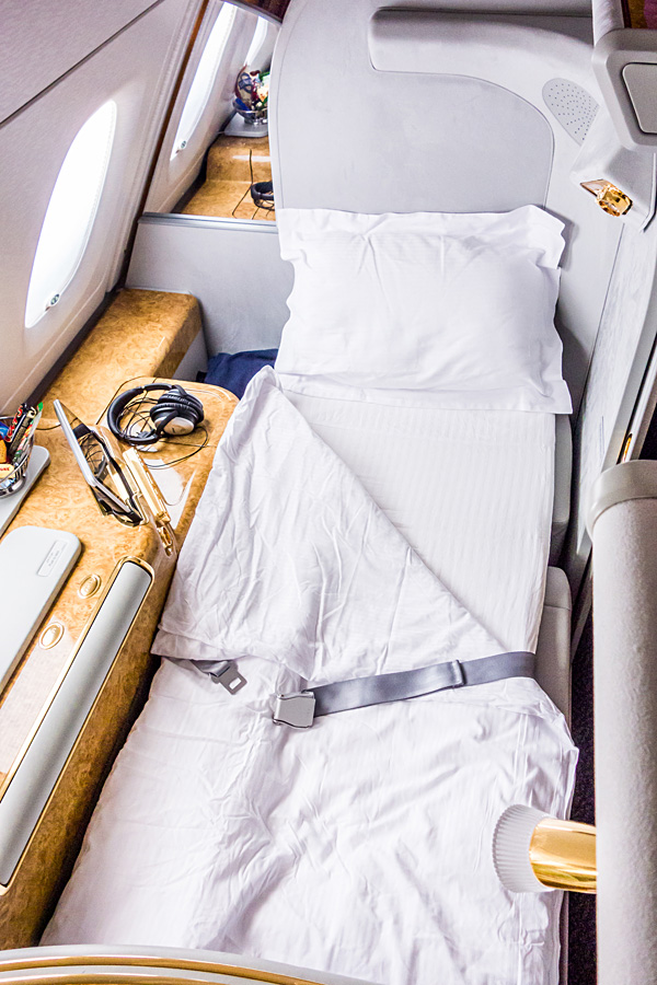 Emirates First Class A380 Suite Full Flat Bed