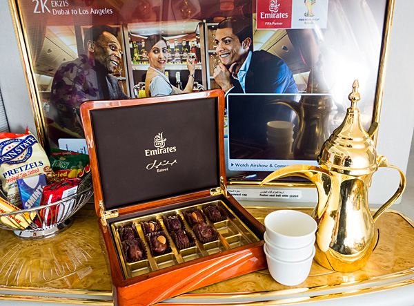Emirates First Class Arabic Coffee and Bateel Dates A380