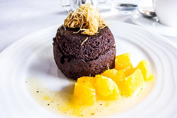 Emirates First Class Chocolate Molten Cake for Dessert
