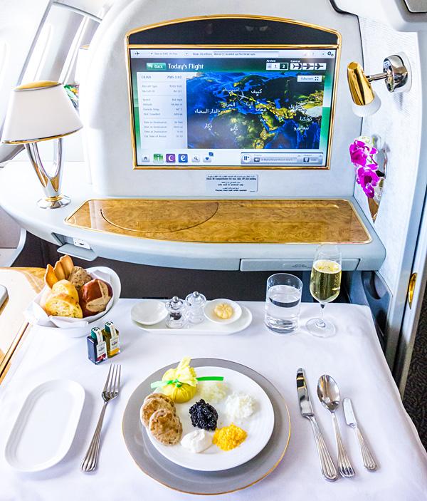 Emirates First Class EK148 Amsterdam Dubai Chilled Caviar Service