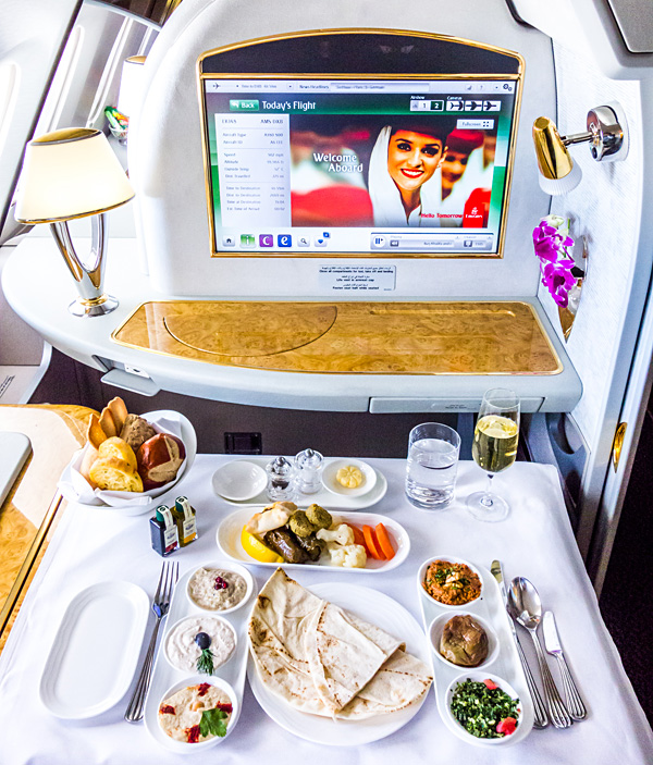 Emirates First Class EK148 Amsterdam to Dubai Traditional local Arabic Mezze