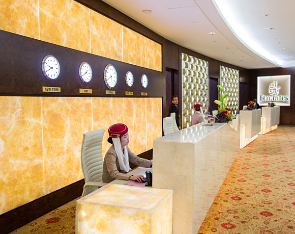 Emirates First Class Lounge Entrance Dubai Terminal 3, Concourse A