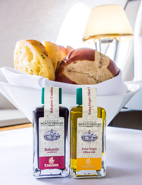 Emirates First Class: Monte Vibiano Balsamic and Olive Oil