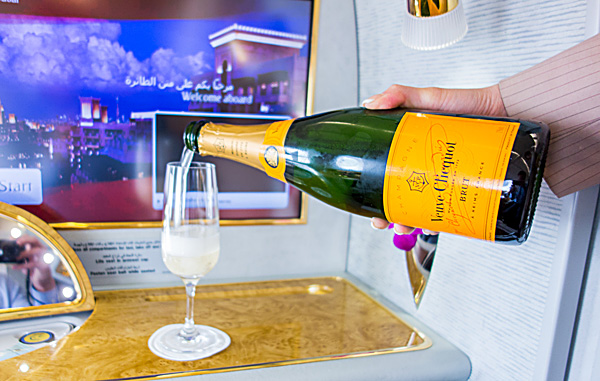 Emirates First Class Pre Departure Drink Veuve Clicquot Amsterdam Schiphol