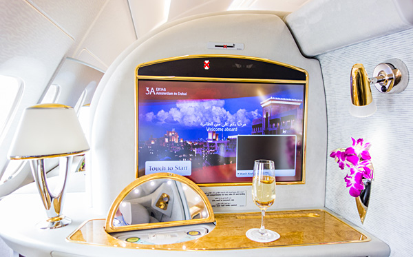 Emirates First Class Ready for Departure Amsterdam