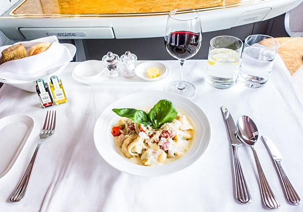 Emirates First Class Ricotta Cheese and Spinach Tortellini Pasta
