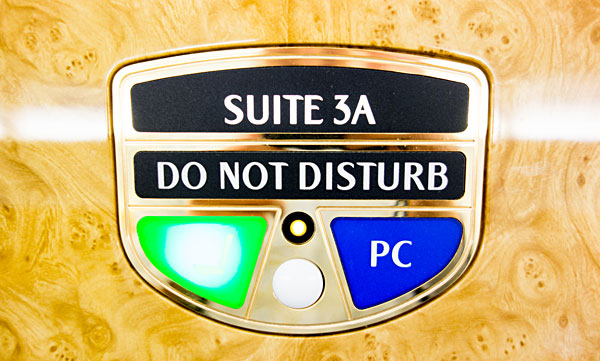 Emirates First Class Suite 3A Do Not Disturb sign A380