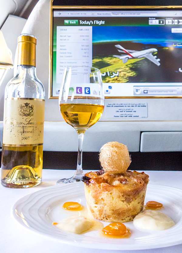 Emirates First Class White Chocolate Croissant Pudding