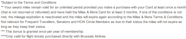 Brussels Airlines American Express conditions