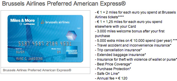 Brussels Airlines Preferred American Express Credit Card details