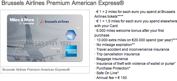 Brussels Airlines Premium American Express Credit Card details