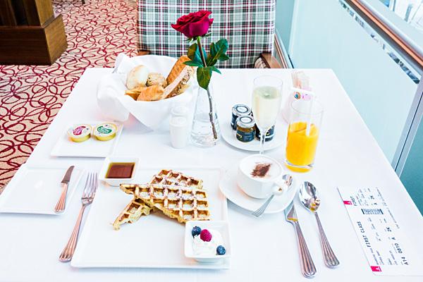Emirates First Class Lounge Dubai Breakfast Waffles