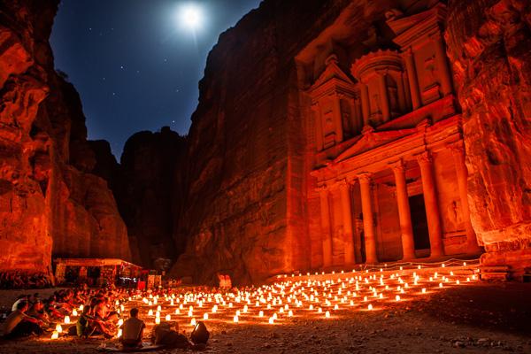 The Treasury, Petra by Night, Jordan