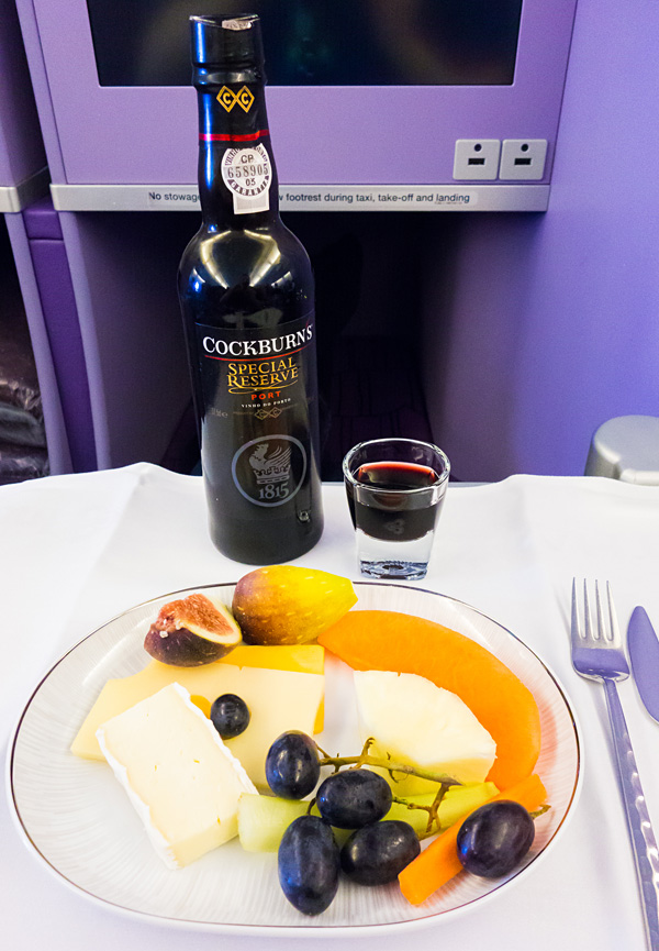 Cockburns Porto Assorted Cheese and fresh fruits Thai Airways A380 Royal Silk Business Class