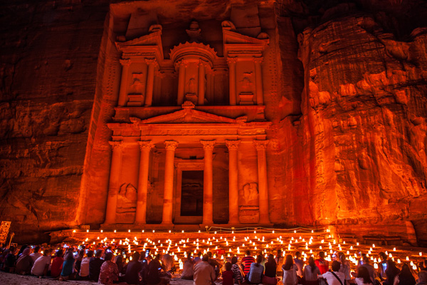 Petra by night at the Treasury, Jordan