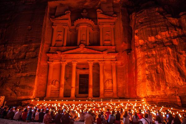 Petra by night at the Treasury, Jordan