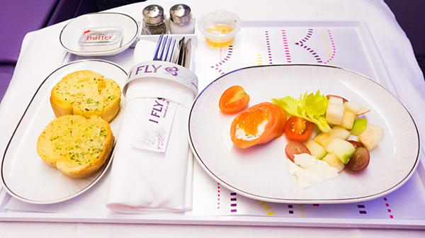 Thai Airways A380 Royal Silk Business Class First Course Salmon Roll