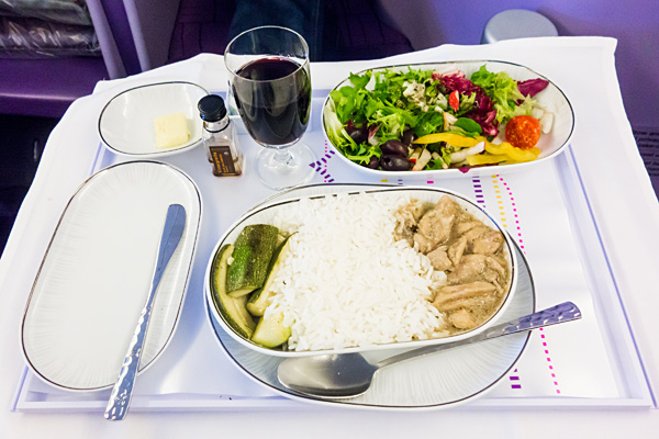 Thai Airways A380 Royal Silk Business Class Main Course Stir Fried Chicken