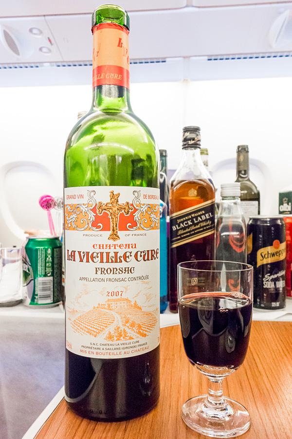 Thai Airways Royal Silk Business Class Red Wine Chateau La Vieille Cure 2007