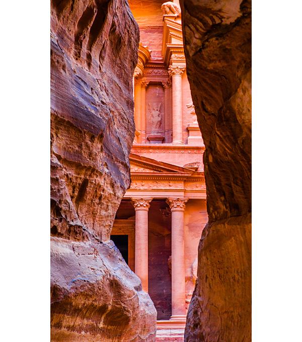 The Siq leading to the Treasury at Petra in Jordan