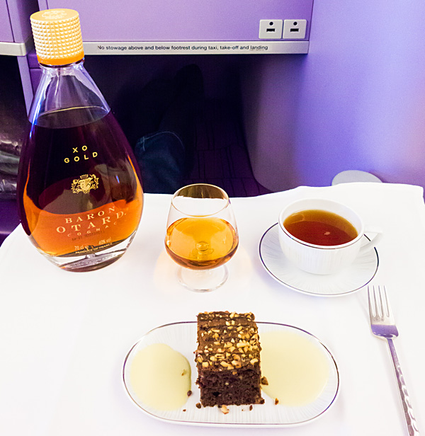 Baron Otard XO Gold Cognac with Chocolate Brownie and Tea Thai Airways A380 Royal Silk Business Class