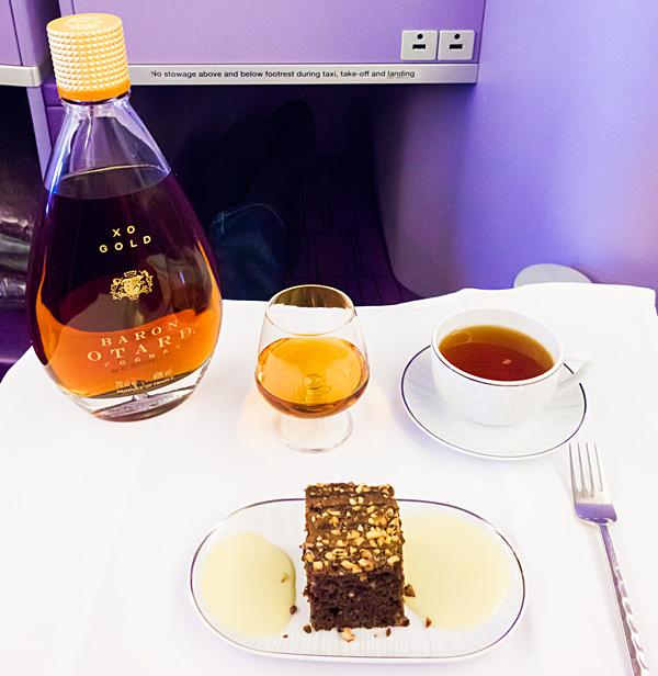 Baron Otard XO Gold Cognac with Chocolate Brownie and Tea Thai Airways A380 Royal Silk Business Class