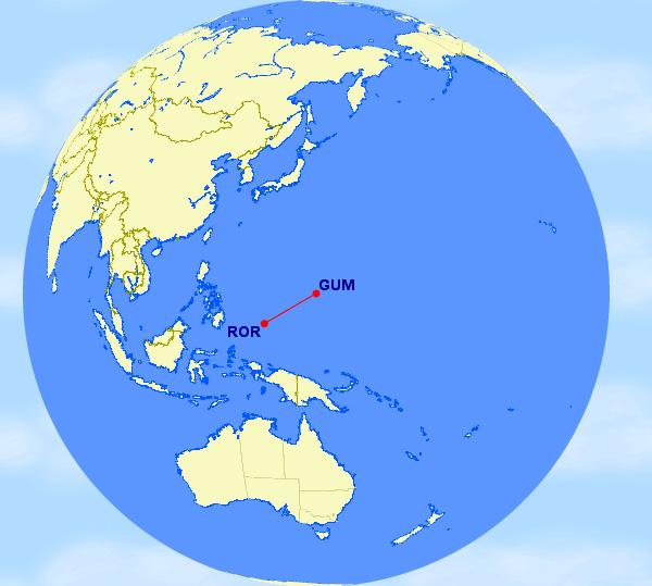 Guam to Koror, Palau (GUM-ROR)