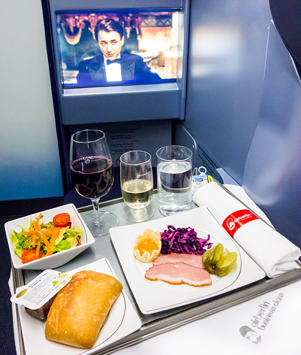 Air Berlin A330 new Business Class Meal Service Starter