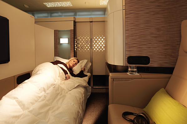 Etihad Airways A380 First Class Apartment Suite Bed