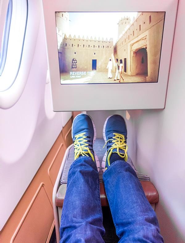 Etihad Business Class A330 IFE screen and leg room