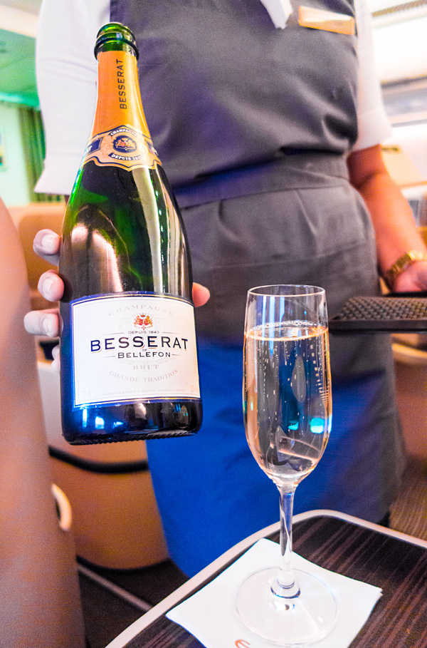 Etihad Business Class Besserat de Bellefon Champagne