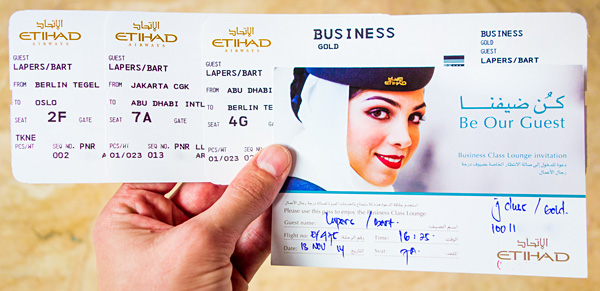 Etihad Business Class Boarding Pass