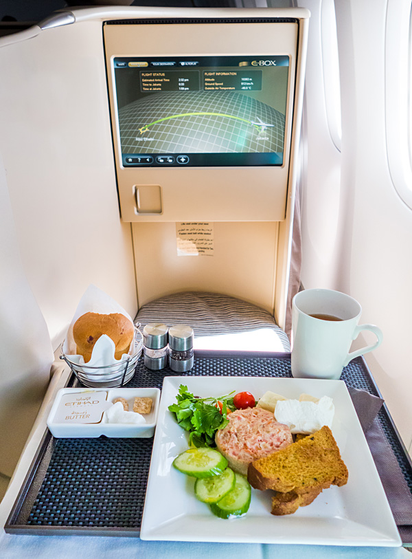 Etihad Business Class Breakfast Arabic Style Egg White And Tomato Frittata with Halloumi Labneh and Olives