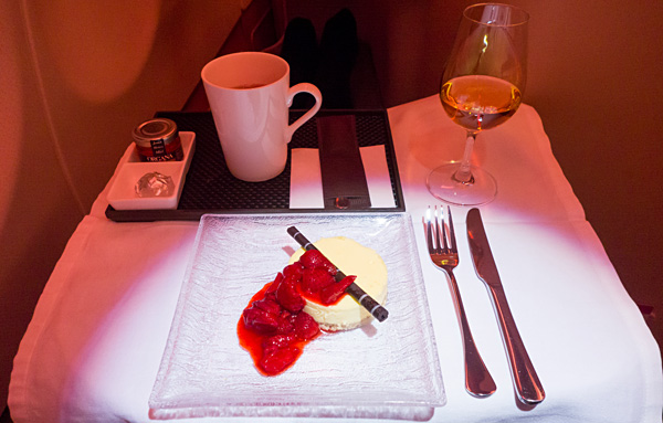 Etihad Business Class Orange and white chocolate cheesecake