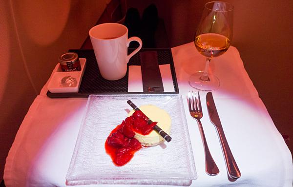 Etihad Business Class Orange and white chocolate cheesecake