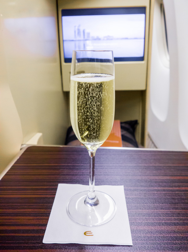 Etihad Business Class Welcome Drink Champagne
