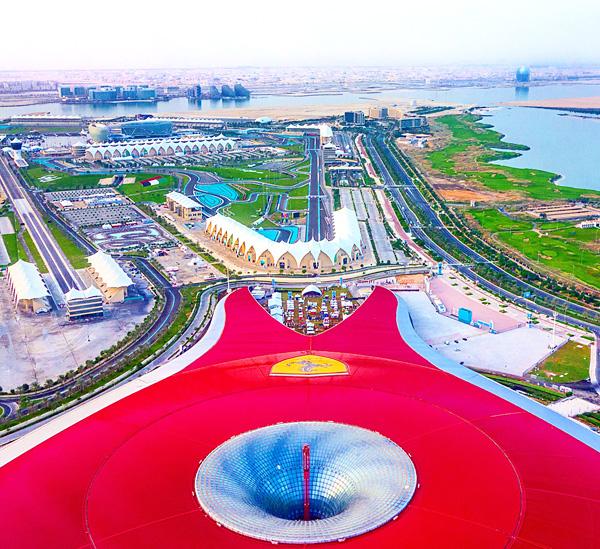 Ferrari World Air Berlin flight landing at Abu Dhabi airport
