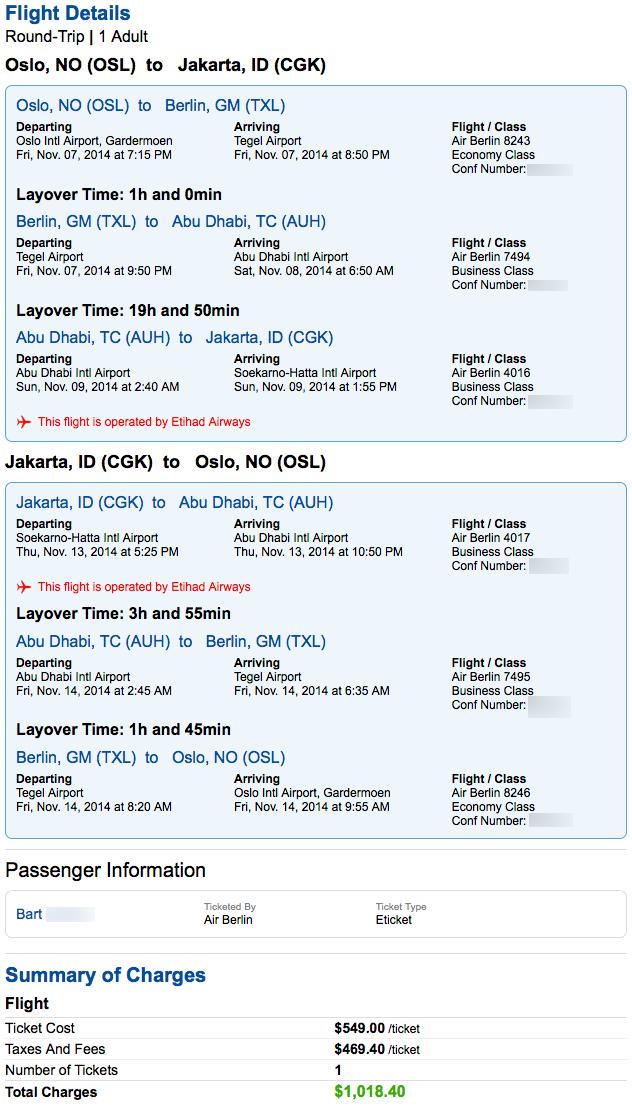 Air Berlin Amp Etihad Business Class Jakarta Via Abu Dhabi