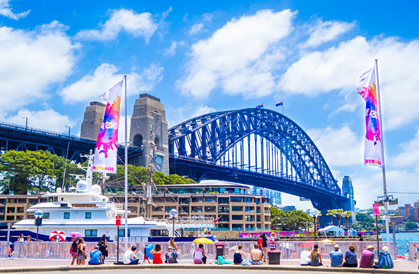 Spectators at Sydney Harbour Bridge
