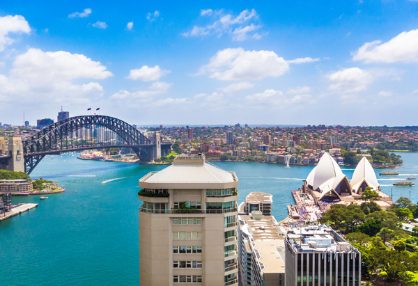 View from InterContinental Sydney on Opera House and Harbour Bridge